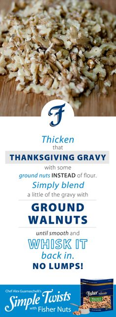Fisher® nuts offers high quality, great tasting nuts to spice up your next recipe or curb your cravings with a tasty snack. Find recipe tips and inspiration, and learn more about all of our products. Thanksgiving Gravy, Iron Chef, Mixed Nuts, Yummy Snacks, Food Hacks, Food Network Recipes, Spice Things Up, New Recipes, Fisher