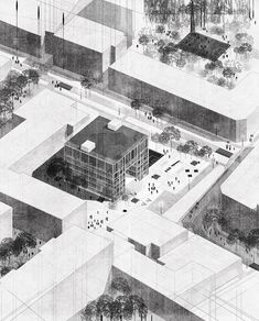Drawing by Diana Avery.kaluhova — Want to be featured? Architecture Collage, Architecture Graphics, Architecture Visualization, Architecture Drawings, Architecture Portfolio, Landscape Architecture, Architecture Design, Axonometric Drawing, Inspiration Artistique