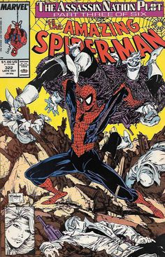 "The Assassin Nation Plot, pt. 3 ""Ceremony""__ Script by David Michelinie , Art And Cover Art Todd McFarlane , Thinking it's an assassination plot, Silver Sable and Spider-Man foil a robbery of the Symk"