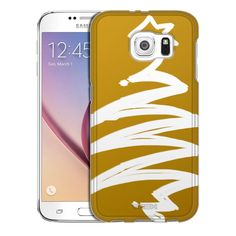 Samsung Galaxy S6 White Painted Tree on Gold Trans Case