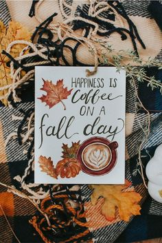 $4.50 Happiness Is Coffee On A Fall Day card. Who doesn't love coffee on a fall day? Keeping this card for the coffee and fall obsessed? yes. Giving it to a friend that thinks the same? Yes, yes! Let's celebrate the season of warm coffee and sweater weather. - Copyright Amber's Artistry