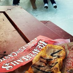 A Maple BeaverTails pastry while skating on the Rideau Canal...most Canadian snack ever? via chictraveler on Instagram