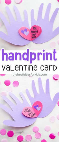 This Handprint Valentine Card has hearts full of messages! Cute Valentine\'s Day card kids can make. Valentine\'s Day cards for kids, kids craft for Valentine\'s Day. #valentine #kidscraft #valentinesday via Kim | The Best Ideas for Kids