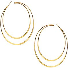 Lana 14k Elite Double Hoop Earrings ($1,250) ❤ liked on Polyvore featuring jewelry, earrings, gold, yellow gold earrings, post earrings, gold jewelry, 14 karat gold jewelry and hoop earrings