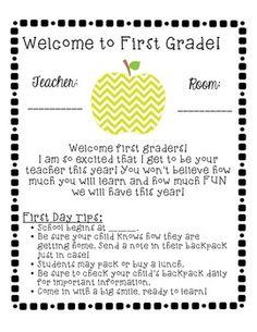 Introduction letter to parents from preschool teacher google chevron themed school year starter pack 1st grade altavistaventures Gallery