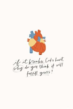 What breaks the heart of God? Here's what does: anything that takes His place as #1 in our lives. Think about what you've been feeding your heart this week and ask yourself: if it breaks God's heart, why do I think it will fulfill mine?