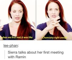 Sierra talks about her first meeting with Ramin