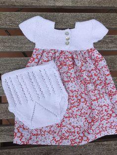 tutorial puntomoderno.com, canesú vestido de bebé, #diy, tejido a dos agujas
