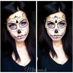 Halloween Kostüm, Couple Halloween Costumes, Halloween Outfits, Sugar Skull Halloween, Beautiful Halloween Makeup, Halloween Makeup Looks, Sugar Skull Makeup, Sugar Skull Art, Day Of Dead Costume