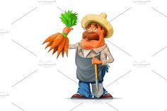 Gardener with carrot and shovel Graphics Gardener with carrot and shovel. Eps10 vector illustration. Isolated on white background**Contents by Aleksangel