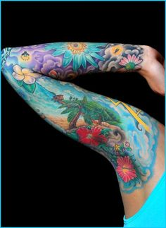 blue floral sleeve tattoo. Wow