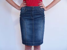 Sexy Ladies Boutique Casual Fashion Knee Length Pencil Denim Skirt 8 10 12 14 16