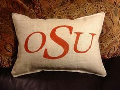OSU Stenciled Burlap Pillow by BurlapPillowsEtc on Etsy