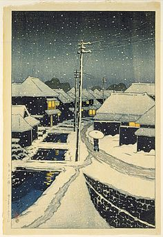 Hasui Kawase - Evening Snow at Terashima Village, 1920