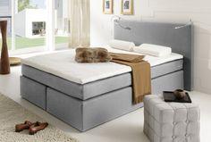 Boxspringbett 140 x 200 cm in grau für erholsamen Schlaf.