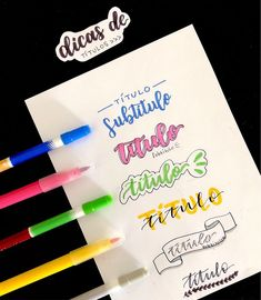Titulos guays Bullet Journal Fonts, Bullet Journal Inspiration, Hand Lettering Alphabet, Brush Lettering, Lettering Tutorial, School Notes, Study Notes, Typography, Writing