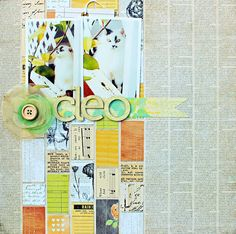 Use Your Words: 12 from 2012 - Love this layout for the background that looks like newspaper, very artsy with all the little scraps of paper and a single flower for embellishment. Very cool.