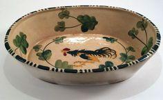 Japanese Folk Art Pottery Oval Rooster Hand Painted Ceramic Bowl Pre World War II Available on Etsy! Shop here 👉 https://www.etsy.com/listing/249908537/japanese-folk-art-pottery-oval-rooster?utm_source=crowdfire&utm_medium=api&utm_campaign=api