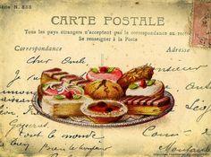 desserts on postcard. Vintage Labels, Vintage Ephemera, Vintage Tea, Vintage Cards, Vintage Paper, Vintage Postcards, Decoupage Vintage, Decoupage Paper, Vintage Pictures
