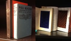 """Book Boxes. 2 books converted into secretive boxes by """"Diane"""" available through the Newberry Library, Chicago. Donated by Leigh Gates."""