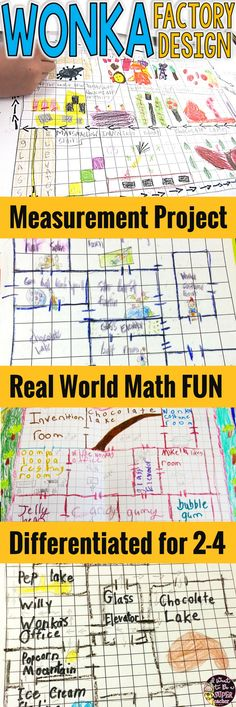 This candy factory measurement math activity will engage your 2nd, 3rd, or 4th grade students with FUN real world problem solving! Use this project at the end of the school year or as a review of measurement, area & perimeter. With 2 differentiated versions + an editable teacher copy, this Wonka Factory Math Project can be used during centers, small groups, or whole class! Perfect to integrate with a reading of Charlie & the Chocolate Factory. Click for details. #math #secondgrade…