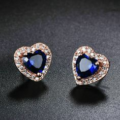 Fancy Earrings, Sapphire Earrings, Sapphire Diamond, Diamond Heart, Diamond Studs, Blue Sapphire, Women's Earrings, Topas, Three Stone Rings
