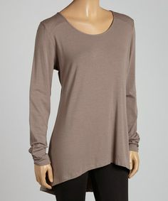 Look what I found on #zulily! Latte Shirred-Sleeve Hi-Low Tunic - Women by Blue Canoe #zulilyfinds