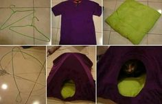 Creative Idea For Your Cat – DIY Cat Tent I found a great idea for cat lovers, how to make a cat tent in 3 steps. It's easy, and no cutting or sewing machine. All you need is an old T shirt and two hangers as in image. Diy Cat Tent, Diy Tent, Cat Teepee, Diy Old Tshirts, Old T Shirts, Lit Chat Diy, Cat House Diy, Kitty House, Guinea Pig Bedding