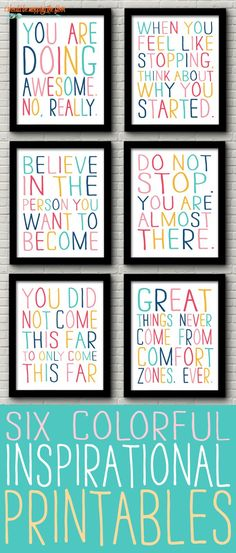Printable Inspirational Quotes These vibrant and colorful six inspirational printables are the perfect touch to any classroom, office space, kids' area, or any place, really!The Kid The Kid or The Kids may refer to: Classroom Setting, Classroom Design, Future Classroom, Classroom Organization, Classroom Color Scheme, Classroom Seats, Cute Classroom Decorations, Organization Quotes, Decoration Party