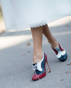 Chicest Interpretation Of Boy-Meets-Girl Styling Color-blocked heeled oxfords and that floaty white skirt make the kind of unexpected pairing you want to see from street style.  Photo: Youngjun Koo/I'M KOO