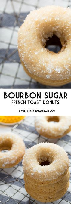 Bourbon Sugar French Toast Donuts- French toast flavored baked donuts are rolled in bourbon sugar in this easy and delicious recipe! Baked Donut Recipes, Baked Doughnuts, Baking Recipes, Donuts Donuts, Muffin Recipes, Easy Recipes, Delicious Donuts, Yummy Food, Tasty