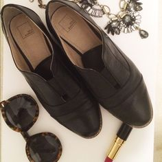 Faux Leather Monk Shoes Slip On Loafers Black faux leather monk style shoes. Bought at Nordstrom Rack and worn twice. Great quality shoe! The tongue of it is a bit stretchy to allow for slipping on to wear. 14th & Union Shoes Flats & Loafers