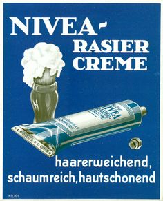 Affiche NIVEA Crème, Allemagne, 1930 Creme, I Gen, Brand Packaging, Barber Shop, Advertising, Personal Care, Vintage, German, Poster