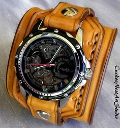 Steampunk Leather Watch Cuff Men's watch by CuckooNestArtStudio, $139.00
