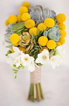 Photo by: Joielala Photography Adding a few succulents to your bridal bouquet is not only chic, it ensures your flowers will last! Succulent wedding centerpieces Photo by: Joielala Photography on Grey Likes Weddings via Lover. Yellow Wedding Flowers, Flower Bouquet Wedding, Yellow Flowers, Wedding Colors, Wedding Ideas, Yellow Weddings, Wedding Notes, Bouquet Flowers, Wedding Prep
