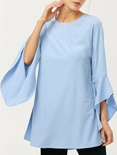 FItting Flare Sleeve Blouse - LIGHT BLUE S