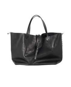HTC Black leather shopper bag side decoration with studs leather handles unlined interior with one pocket upper strap closure 100% Leather Size: 58,5x23x17 cm Handles: 19 cm