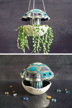 jellyfish hanging plant pot  planter for di FedericoBecchettiArt
