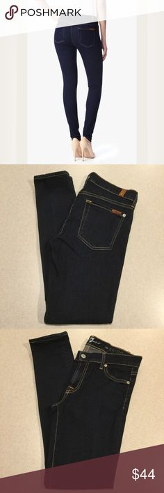 7 For All Mankind Jeans 27X28 Skinny Rinsed Indigo 7 for all mankind jeans The skinny in rinsed indigo! Modeled picture is of exact fit and wash Size 27 28 inch hemmed skinny inseam Dark blue stretch denim with taupe stitching throughout Perfect preowned condition worn only a few times Retails for $159.00  All of my items come from a smoke free, pet free home and are authenticity guaranteed! Please ask any questions, no returns for fit issues. 8 7 For All Mankind Jeans Skinny