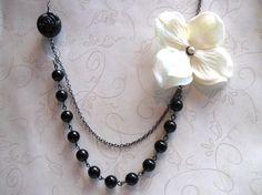 Black and Ivory Hydrangea Necklace by botanicalbird on Etsy