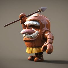 TikiBot diseño de personaje en 3D