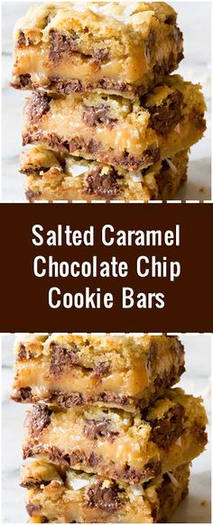 Salted Caramel Chocolate Chip Cookie Bars – These bars freeze really well! We pu… - Chocolatte Chip Cookies Carmel Chocolate Chip Cookies, Salted Caramel Cookies, Chocolate Caramels, Carmel Cookies, Salted Caramels, Brownie Cookies, Chocolate Chocolate, Caramel Cookie Recipe, Chocolate Carmel Bars