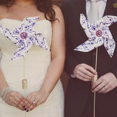 Adorable purple wedding with fun pinwheel details and gorgeous flowers! By Stephanie Williams Photography