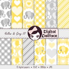 -------- 10% OFF with COUPON CODE: PIN10 -------- Yellow Elephant Baby Shower Digital Paper Pack by DigitalDollface