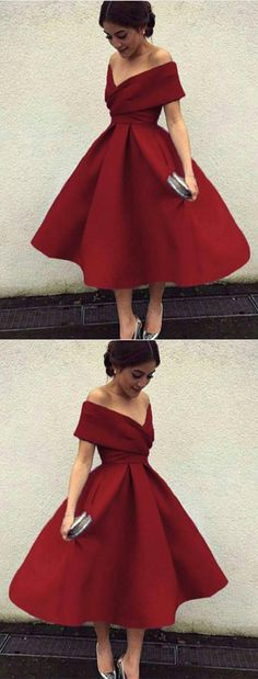 burgundy homecoming dress, v neck prom dress,off the shoulder,tea length ball gowns,short prom dress,short bridesmaid dresses