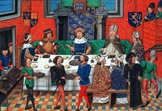 THE SERVERS ARE DRESSED SIMILARLY - Another medieval feast