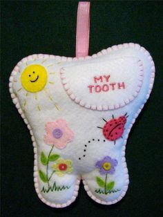 GIRLS HANDMADE FELT TOOTH FAIRY PILLOW W/FLOWERS, LADYBUG & SUN ~ 7 1/4 X 7