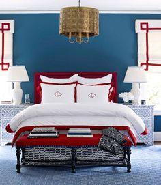 Lindsey Coral Harper Red White & Blue     Havenly