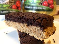Vegan protein flap jack with vanilla and chocolate. Gluten and lactose free.