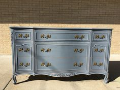 Grey dresser with Brushed Gold accents!!
